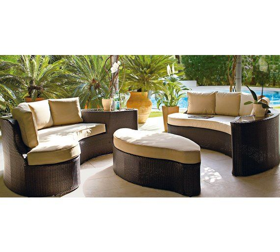 buy collection rattan effect 6 seater patio sofa set 2 sofas at argosco