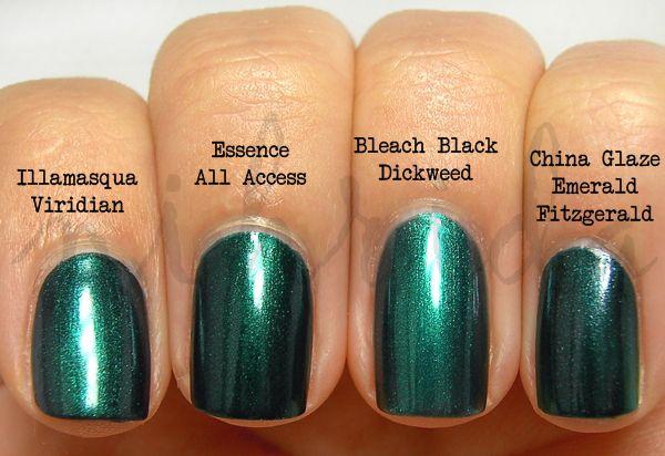 Green Shimmer nail polish Comparison
