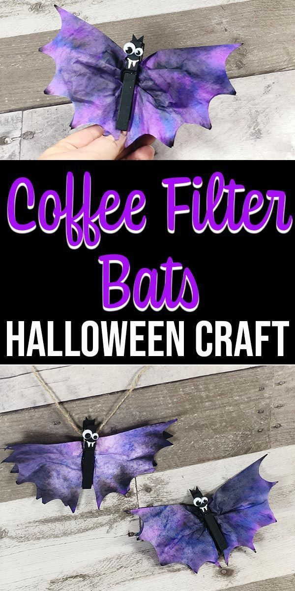 Coffee Filter Bats Halloween Craft for Kids #octobercrafts