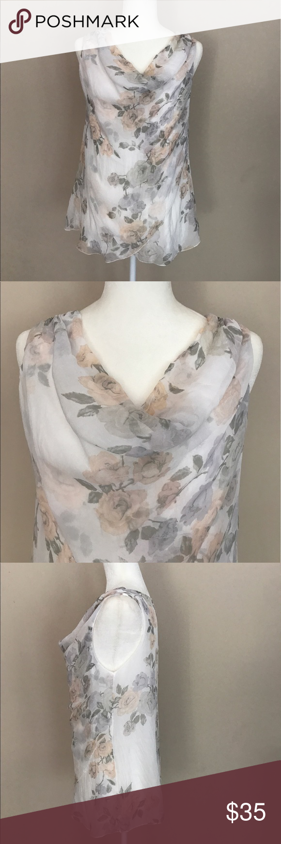 df8d43548da8af GIUSY Pure Silk Cowl Neck Flower Blouse Made in Italy - I bought this at a