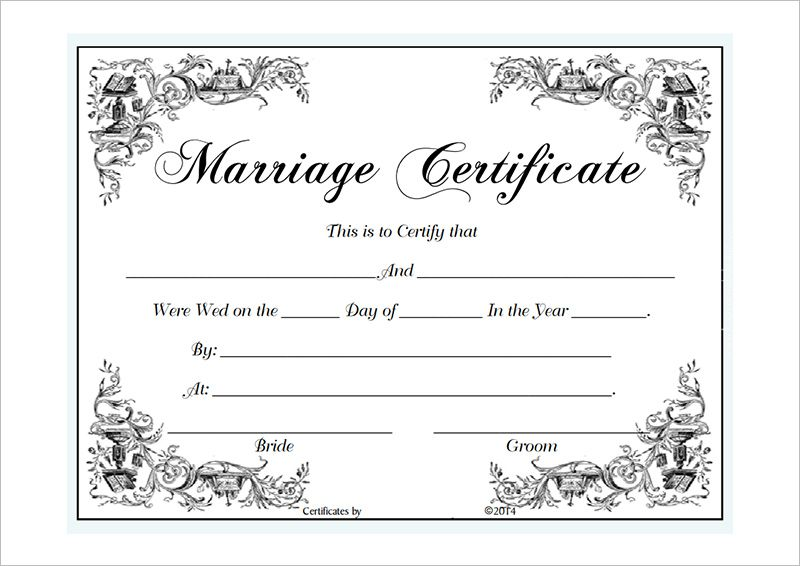 Vintage Marriage Certificate Design Template In Psd Word: Marriage Certificate Template Microsoft Word : Selimtd