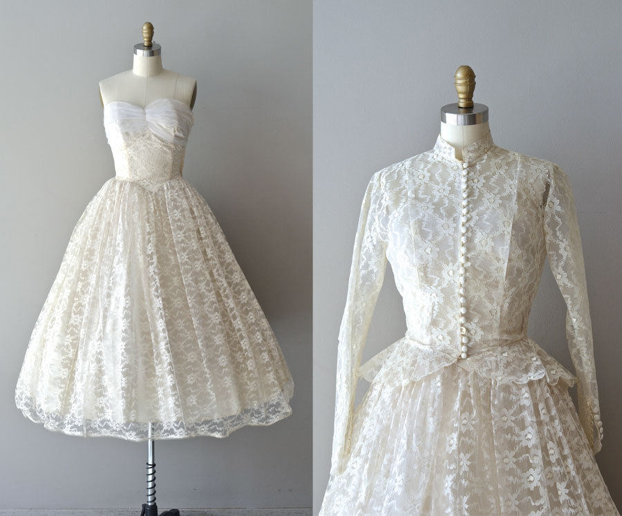Lace 50s Wedding Dress 1950s Pavillion En Air