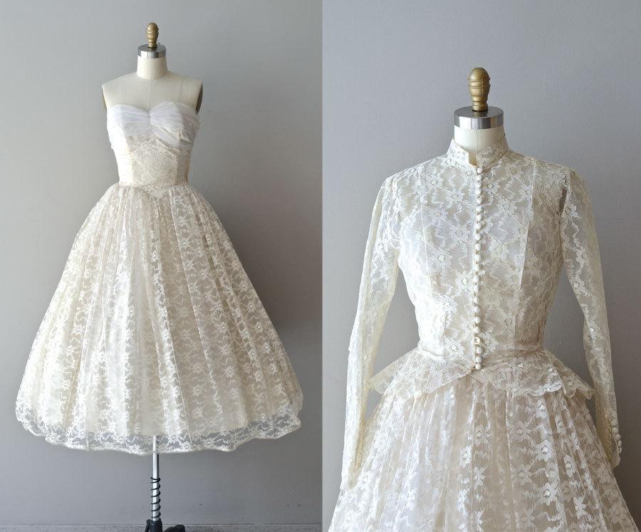 Lace 50s Wedding Dress 1950s Pavillion En By Deargolden 485 00