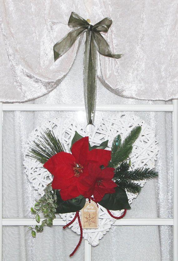 T rdeko t rschmuck weihnachten in wei rot gr n mit von gpmetallum geschenke zu weihnachten - Weihnachtsstern dekorieren ...