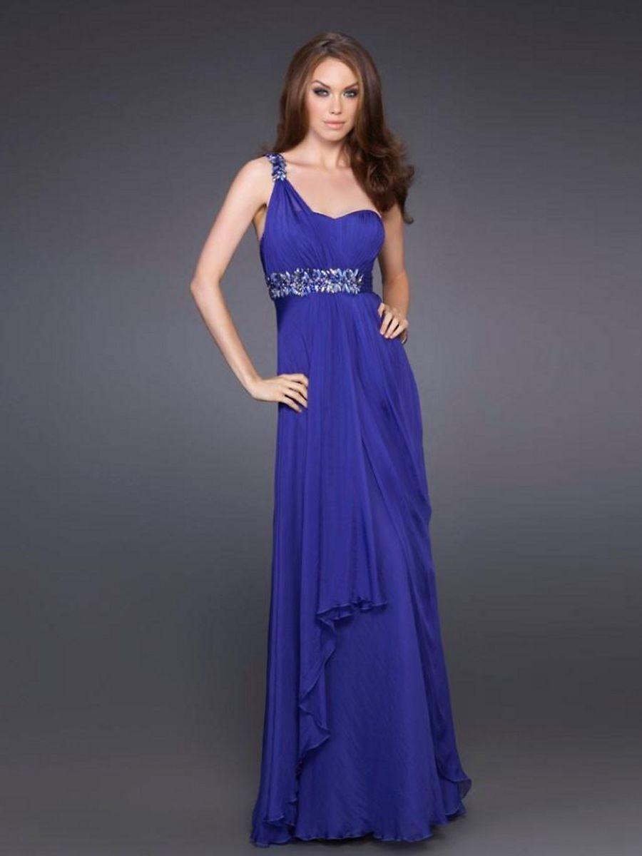 Blue dress one shoulder royal blue