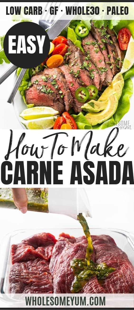 The Best Easy Carne Asada Recipe + Marinade - Learn how to make carne asada at home! The BEST easy Mexican carne asada marinade recipe takes 5 min to prep and is perfect for tacos or over a salad.