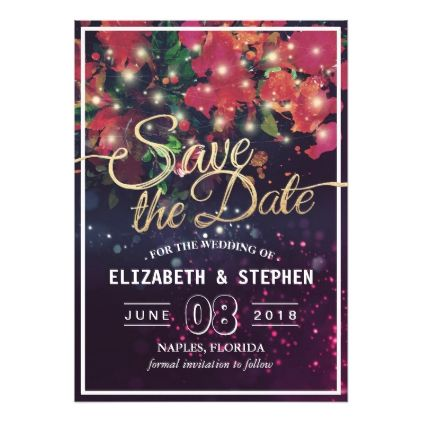 floral string lights gold script wedding save date card script