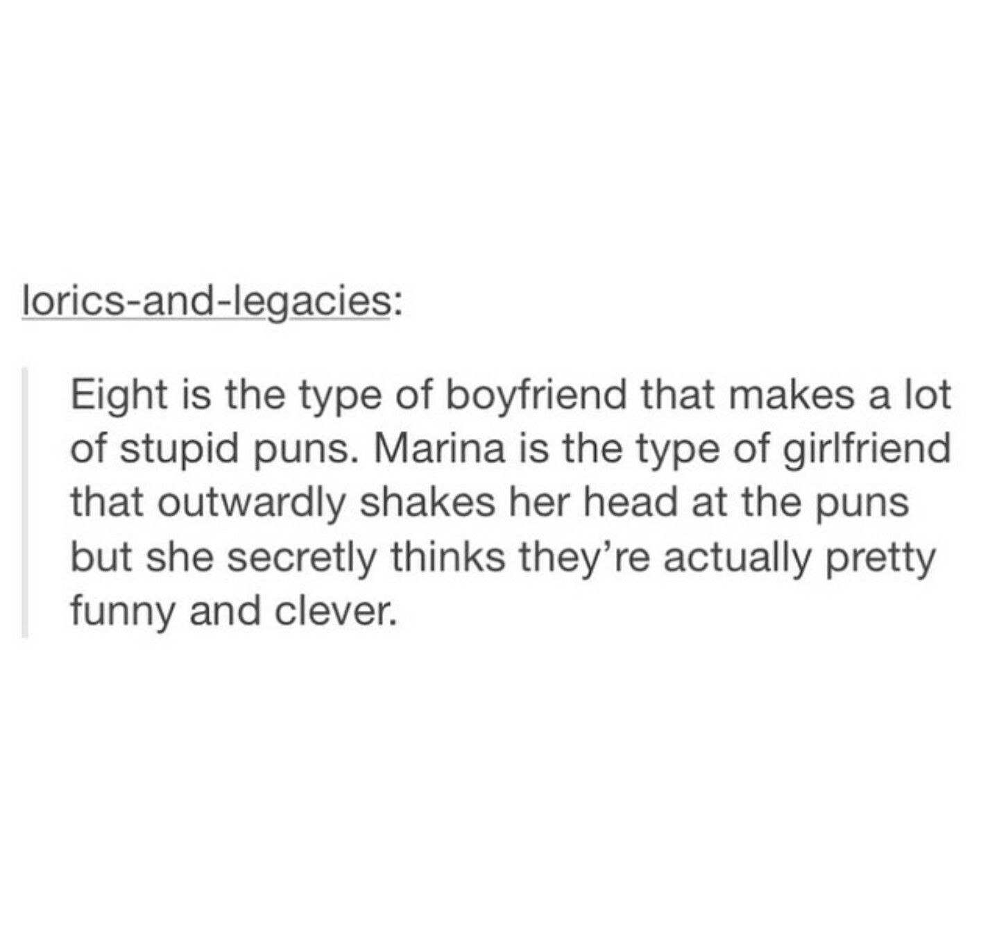 marina is me when dealing with puns | For Lorics Only