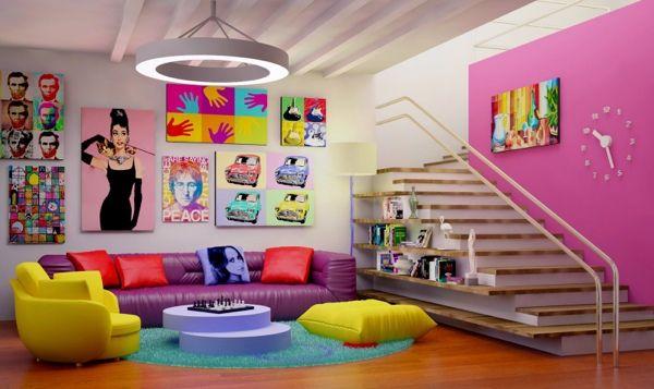 Le pop art est une idée déco salon colorée et vive decor