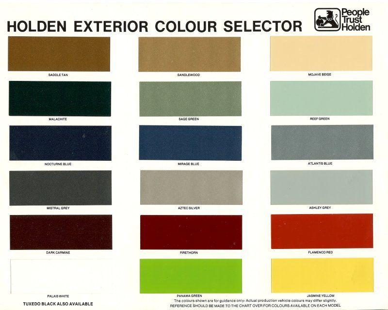 Holden Hz Colour Chart Brochure Page 1 Paint Charts
