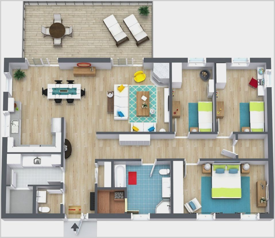 Roomsketcher Modern House Bedroom 3 Bedroom Floor Plan Floor Plan Creator Bedroom House Plans