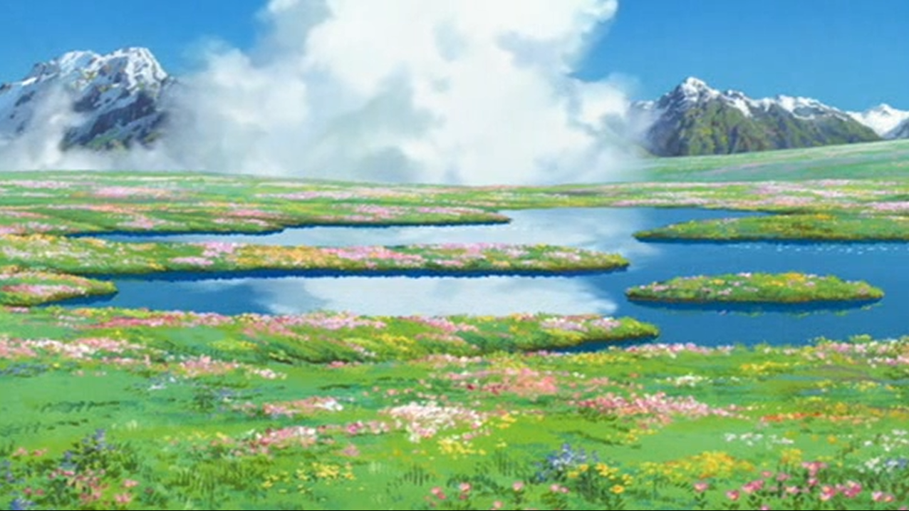 Howl S Moving Castle Sophie S Flower Field Studio Ghibli Background Anime Scenery Howls Moving Castle