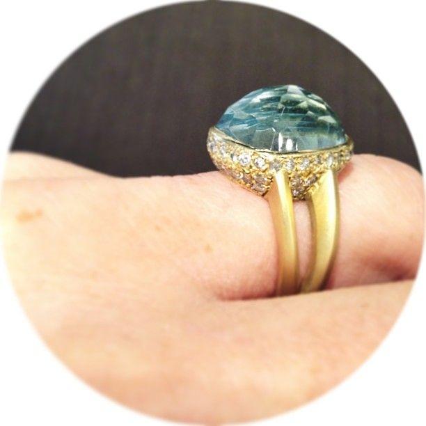 Vicente Agor | 18k Yellow Gold Aquamarine & Diamond Ring | Max's @Vicente Agor Precious