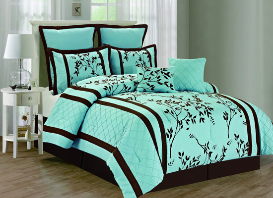 Blue And Brown Bedroom Set blue and chocolate bedding sets | max blue & brown cocoa dots 4