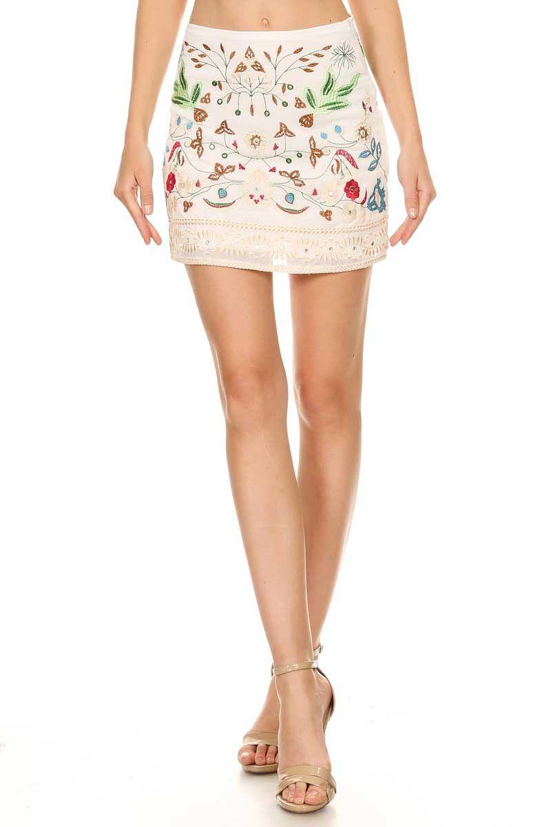 Sea White Embroidered Lace Mini Skirt