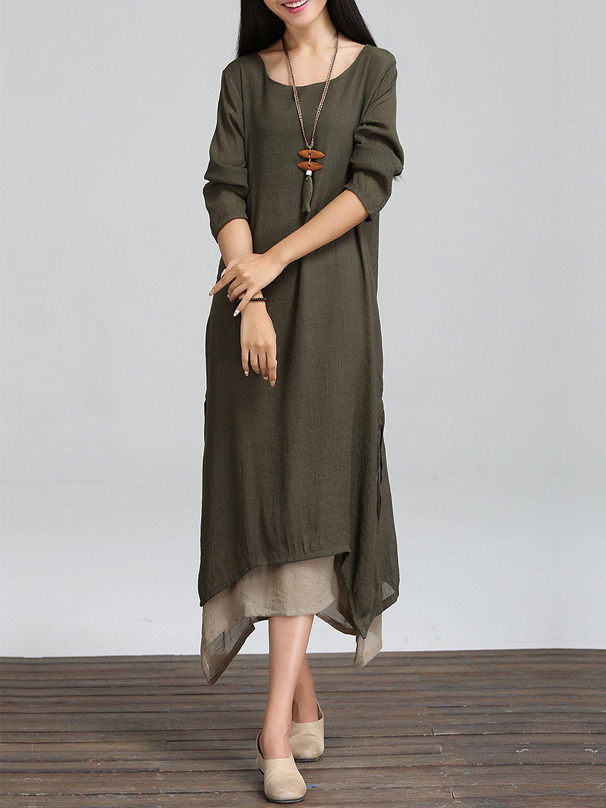08ae0824f9 Long Sleeve Linen Cotton Crew Neck Casual Plus Size Dress