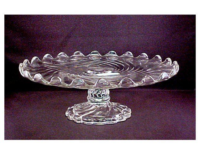 This very attractive and stylish crystal footed Cake Plate was made by Fostoria in one of  sc 1 st  Pinterest & This very attractive and stylish crystal footed Cake Plate was made ...