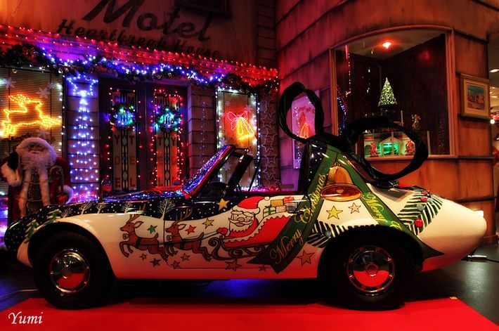 Christmas car decoration complete with Santa and his ...