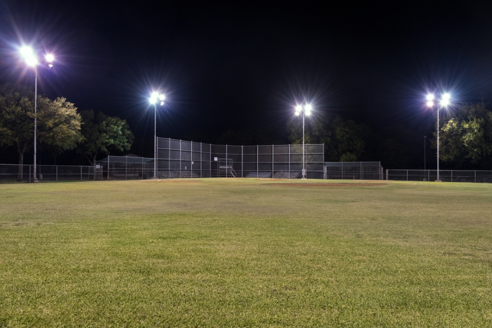 Does An Empty Baseball Field Really Need Outdoor Lighting All Night Baseball Field Outdoor Lighting Outdoor Flood Lights