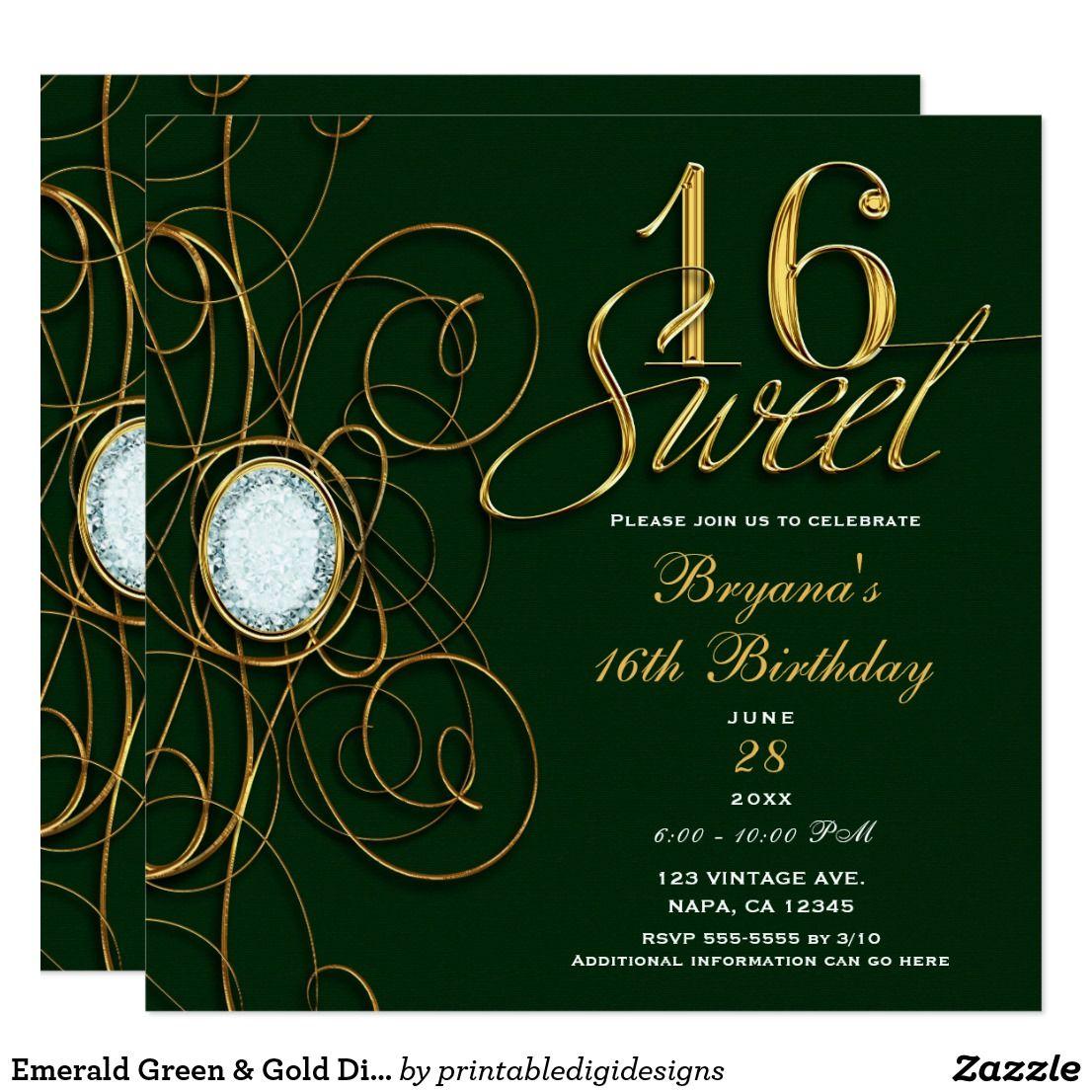 Emerald Green & Gold Diamond Sweet 16 Birthday Invitation