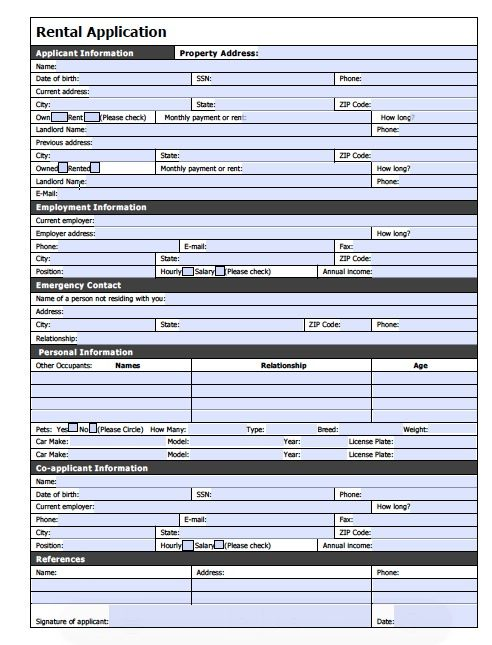 printable sample rental application form pdf form real estate