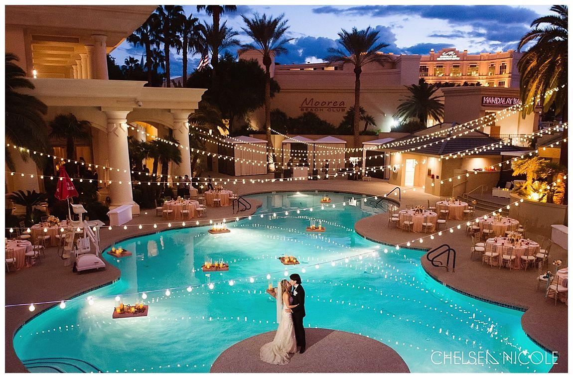 Incredible Four Seasons Las Vegas Wedding Photo Poolside Chelsea Nicole
