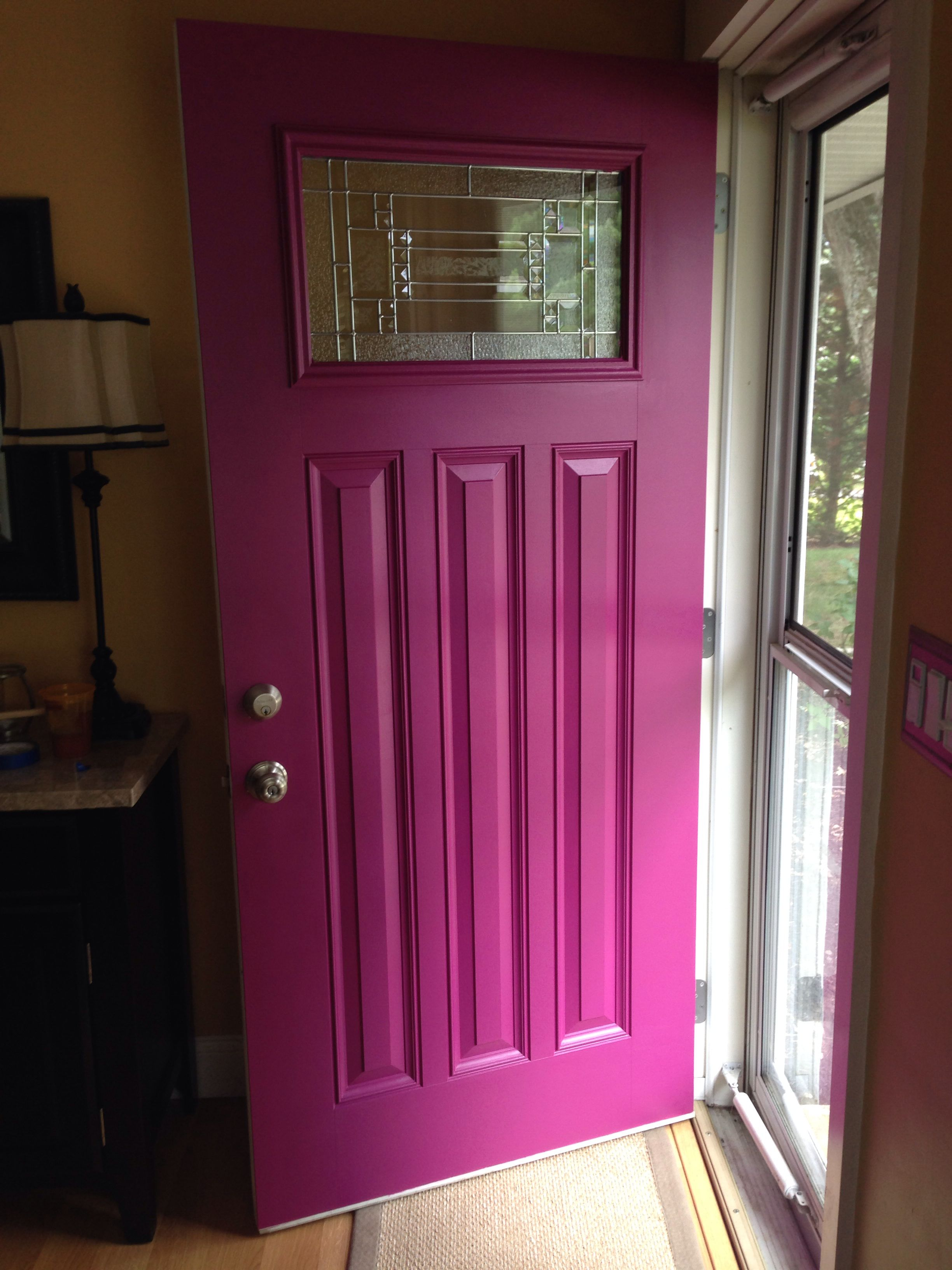 Door color as accent wall color: Mulberry by Benjamin Moore in a ...