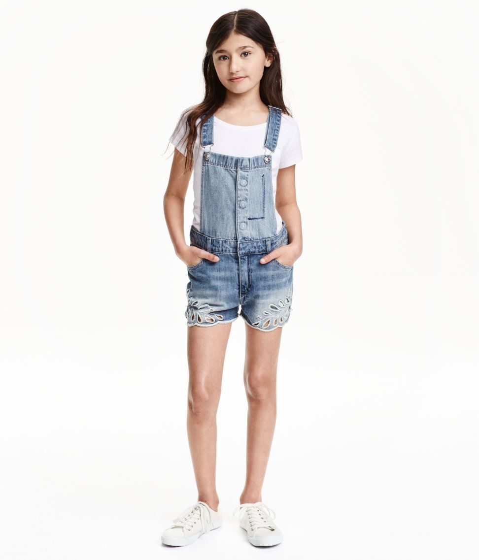bdd5852ab71 Embroidered Bib Overall Shorts