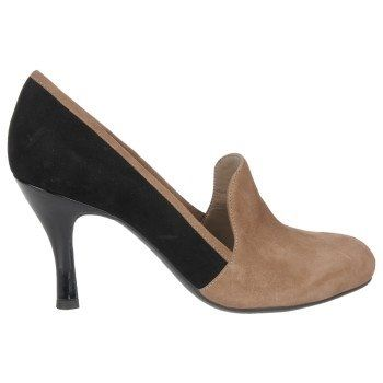 """#FrancoSarto Riva round toe pump in black and taupe suede. 3 1/4"""" stacked black heel. #menswear #smokingslipper #colorblocking"""