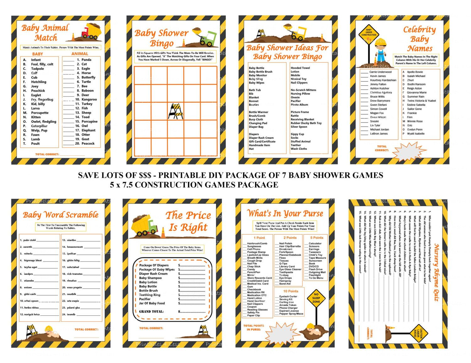 Construction baby shower game printable construction shower game construction baby shower game construction by printables4less solutioingenieria Choice Image