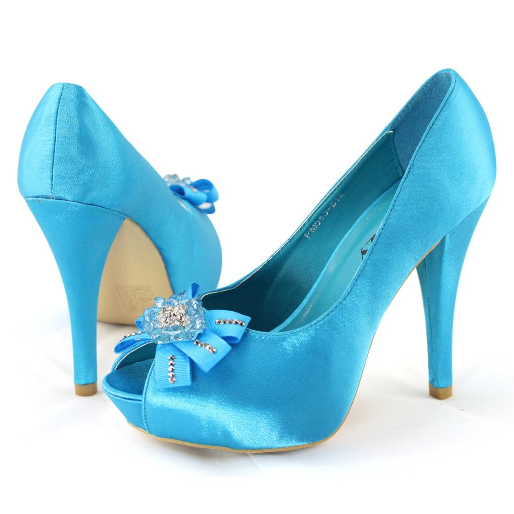 Shoezy womens wedding dress blue satin flower peep toe platform