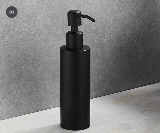 Matte Black Stainless Steel Liquid Soap Dispenser For Bathroom