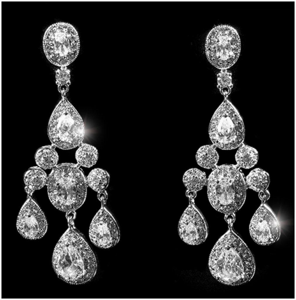 Armania Sy Clear Dangle Chandelier Earrings Cubic Zirconia