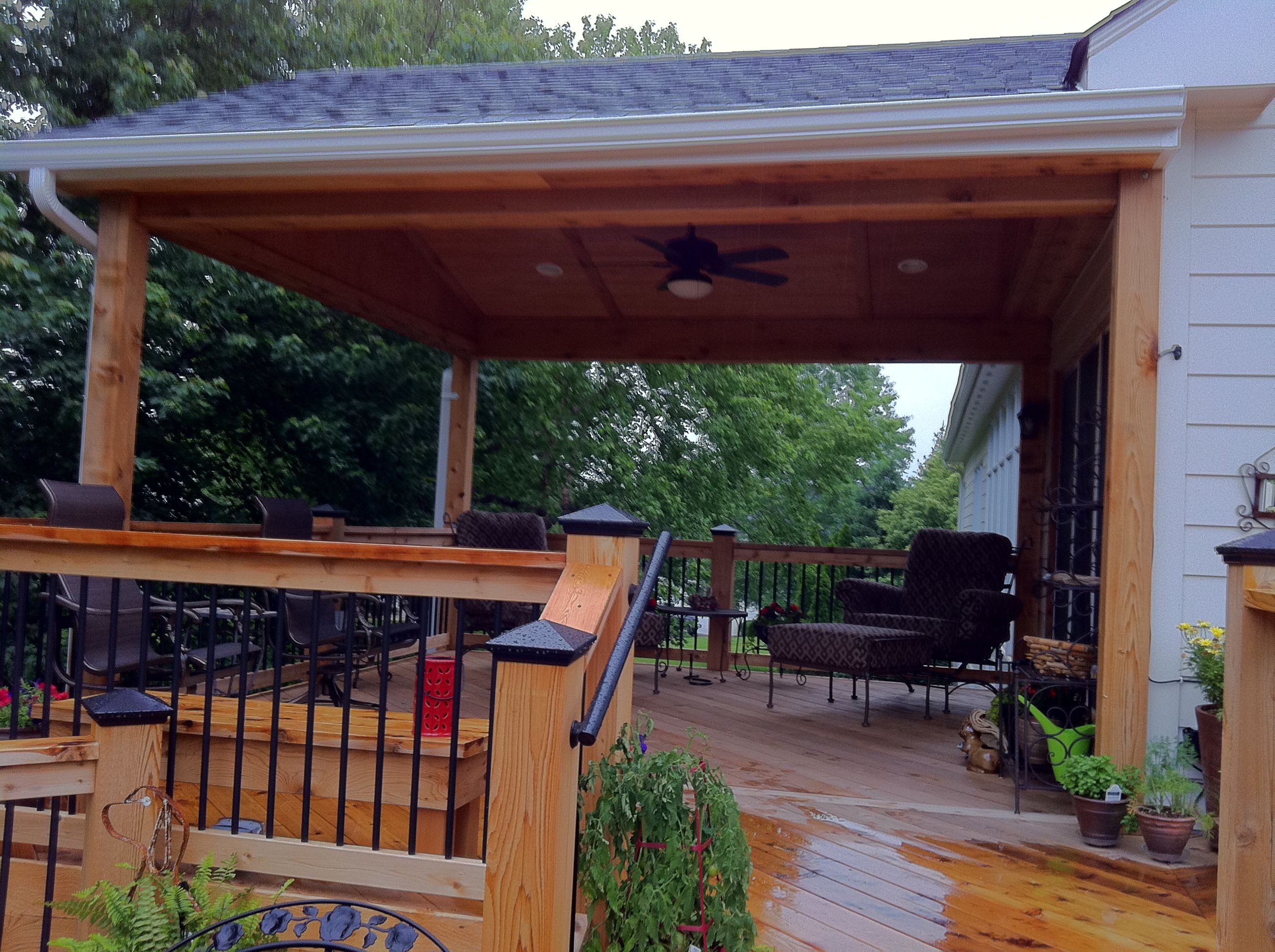 Cedar Deck With Roof #DreamHouse #CedarDeck #DeckDesigns