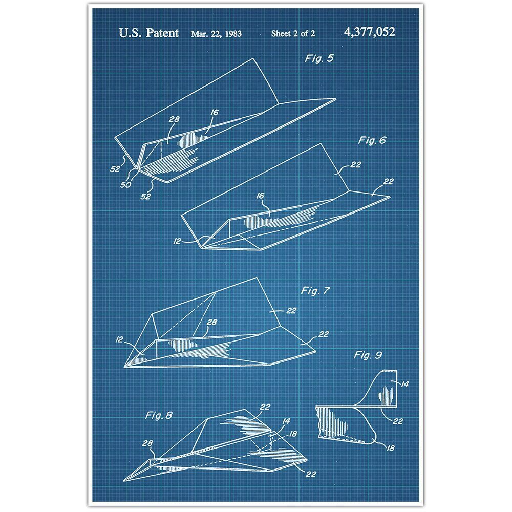 Paper Airplane Patent Blueprint Plane Photo Art Paper