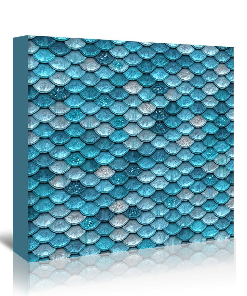 Take a look at this grab my art light blue mermaid fish scales wall