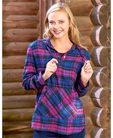 Women's Plaid Flannel Pullover Hoodies | clothing & more ...