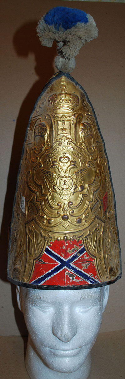 Pattern 1797 mitre hat of Pavel I era Army musketeer regiment's grenadier.