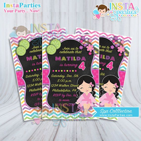 Spa party invitations little girl pink birthday invitation digital spa party invitations little girl pink birthday invitation digital printable file 4x6 turquoise lime black cutest cute stopboris Images