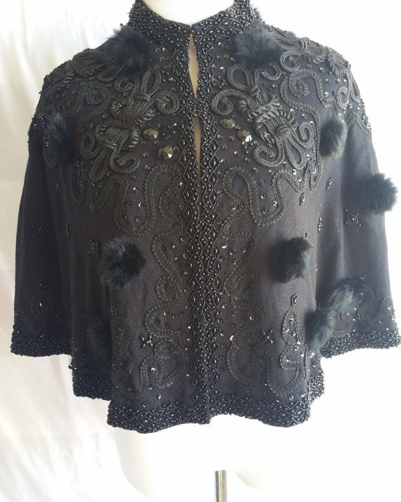 Vintage Black Capelet by LeftyLucyShoppe on Etsy