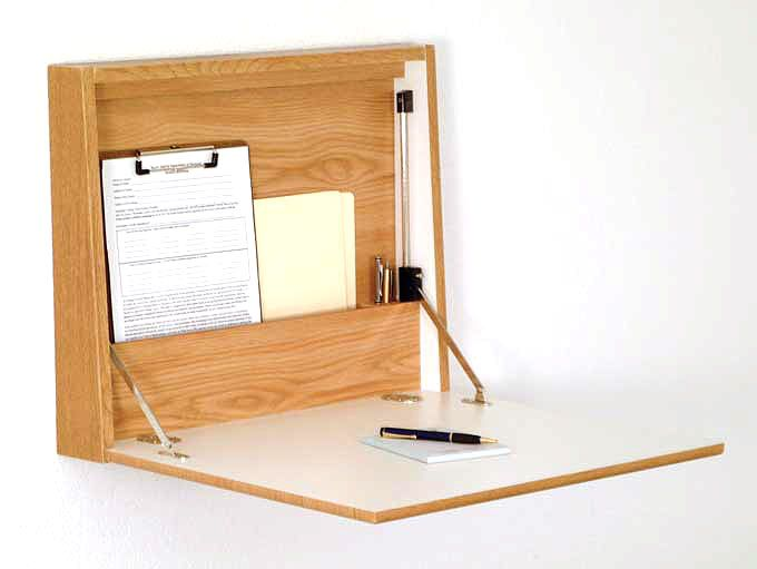 Wall Desk With Hinged Closure Wall Desk Tiny House Furniture Desks For Small Spaces