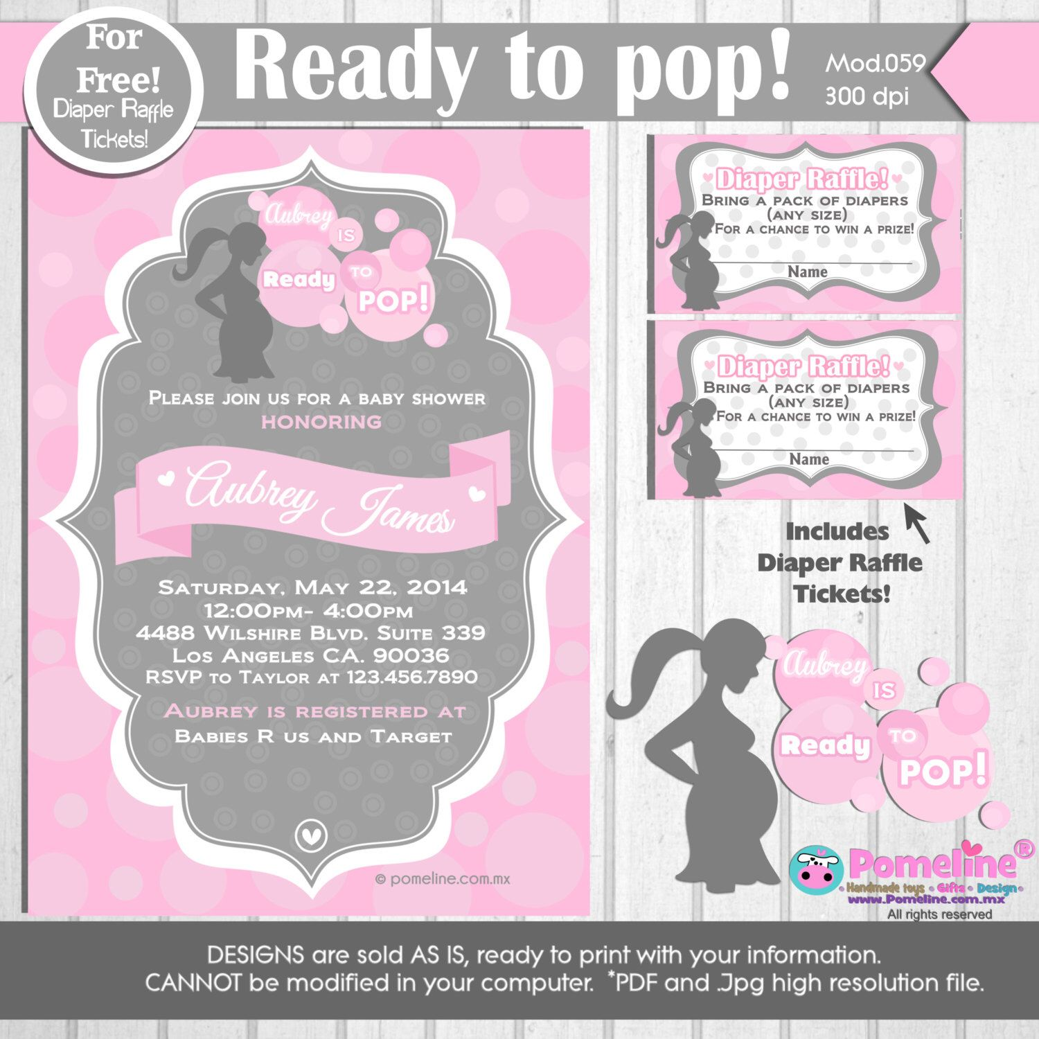 Printable Duo Invitation and Diaper raffle tickets Ready to pop