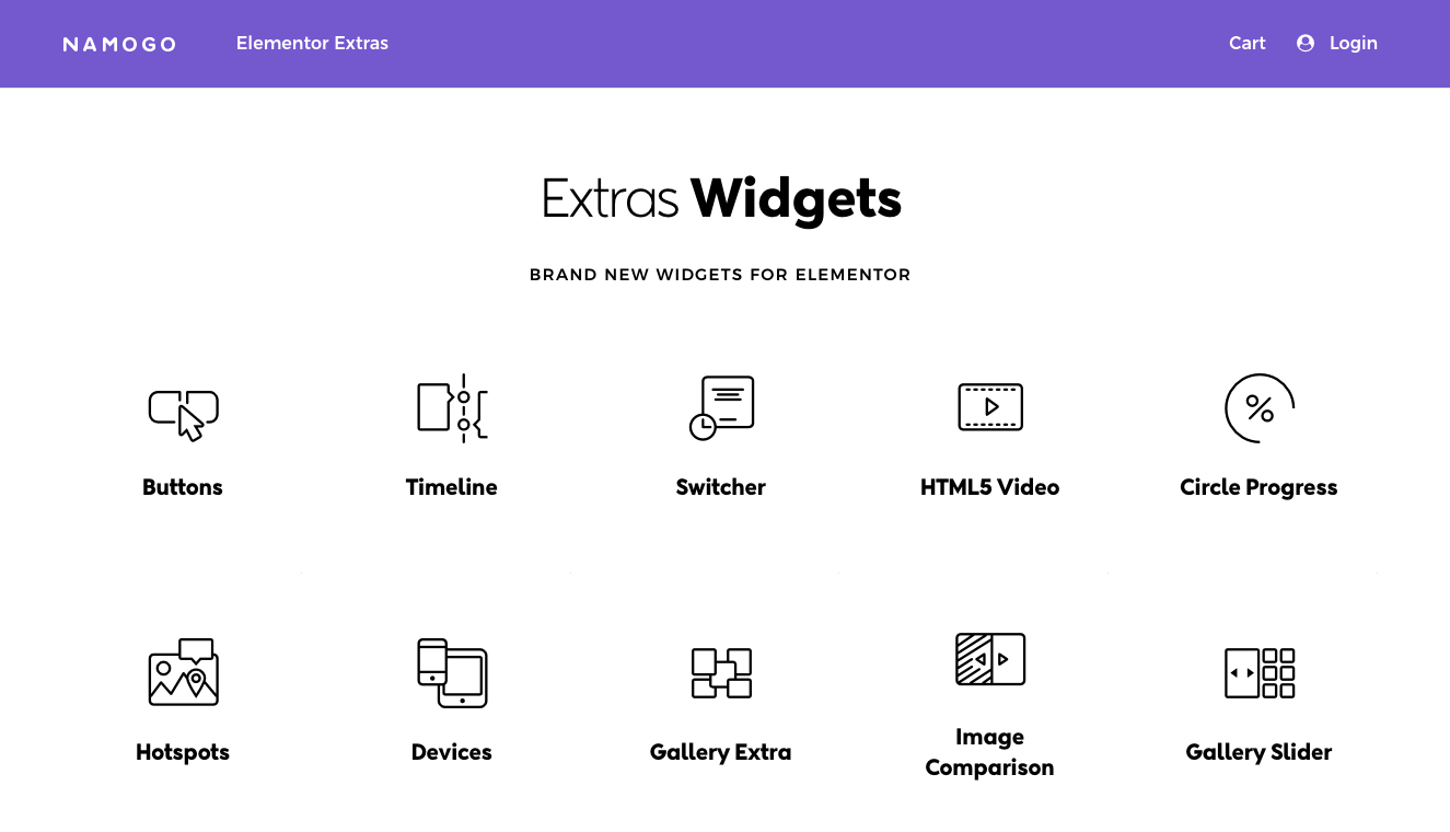 Elementor Extras by Namogo is a premium add-on for Elementor