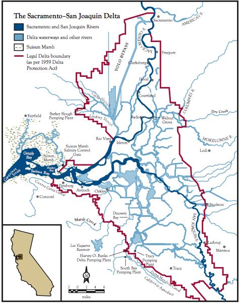 Map Of SacramentoSan Joaquin Delta Califorina Fish And Water - San joaquin on map of us