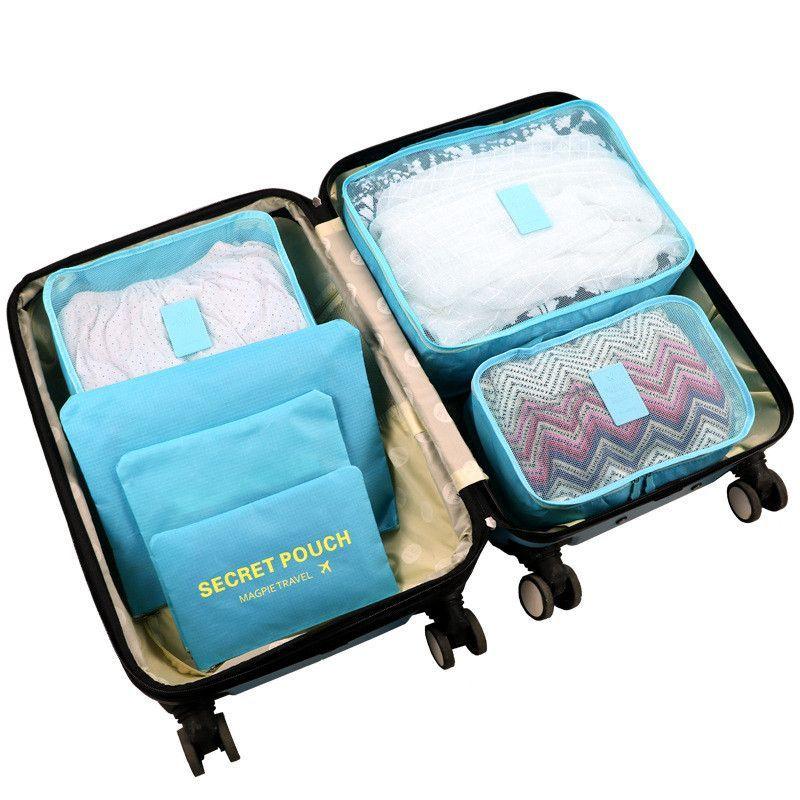 6pcs/set Nylon packing cube large capacity double zipper Waterproof Organizer bag