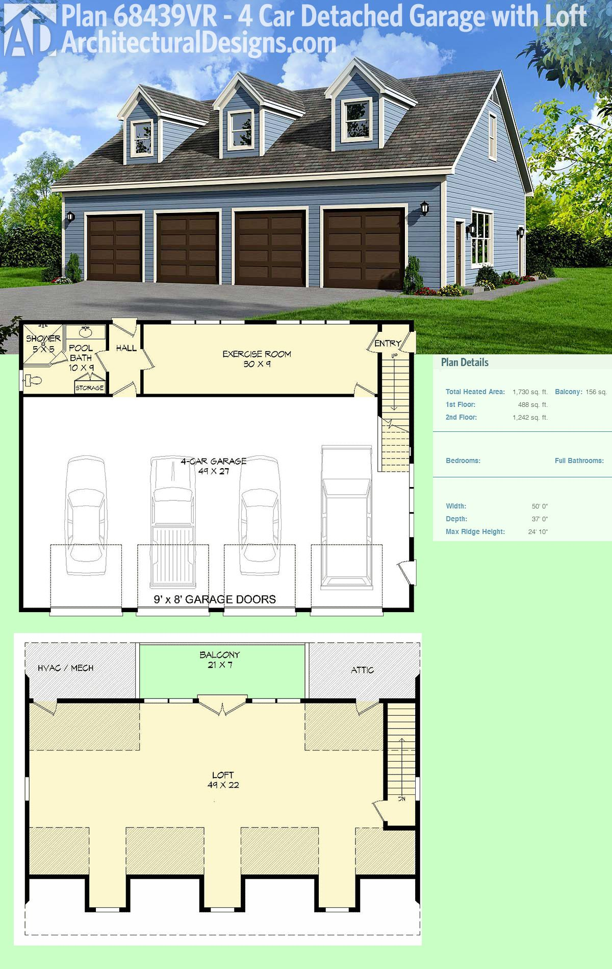 Plan 68439vr Flexible 4 Bay Garage Plan With Full Bath And 3 Dormers Garage Apartment Plans Building A Garage Garage Plan