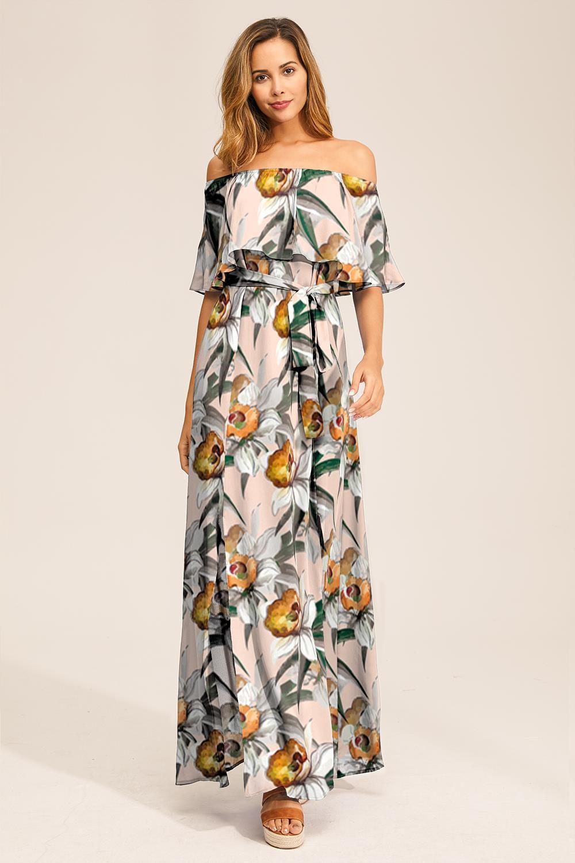 kurzarm blumen gedruckt schulterfrei kleid – ca mode