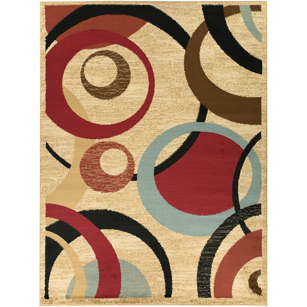 Beige Red Contemporary Abstract Design Area Rug X