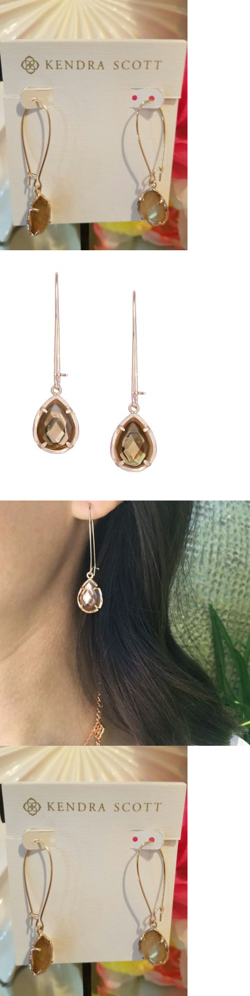 Earrings 50647 Kendra Scott Dee Dangle In Brown Mother Of Pearl And Rose Gold