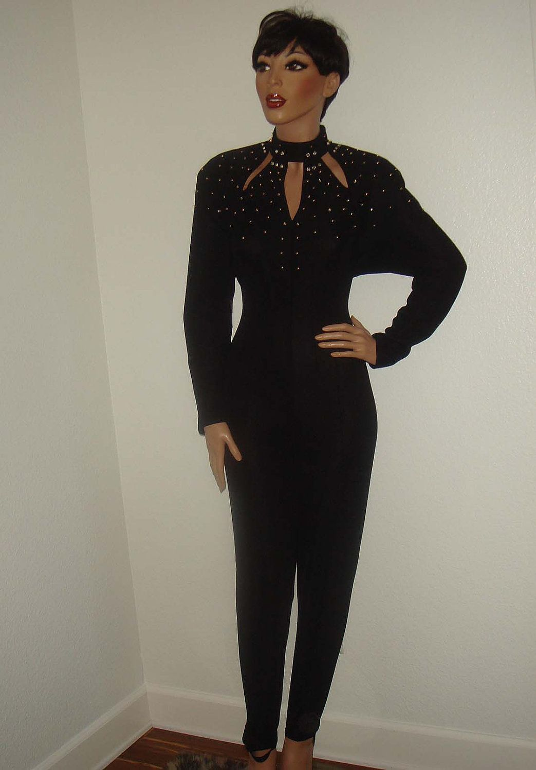 628b227cb34 Vintage 80s Black Jumpsuit Gold and Rhinestone Studded Cutout Bodycon  Catsuit